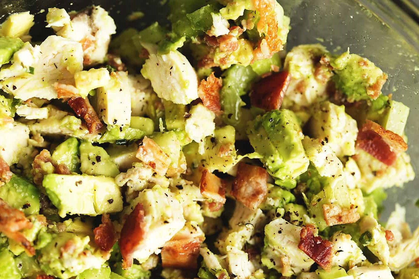 Keto salad with chicken and bacon