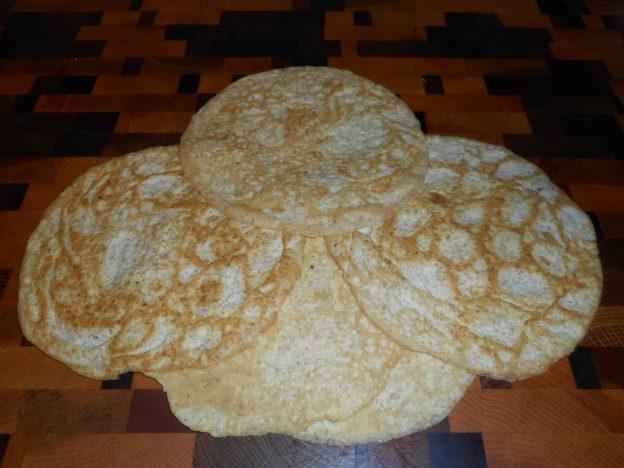 Thin keto pancakes with flaxseed flour