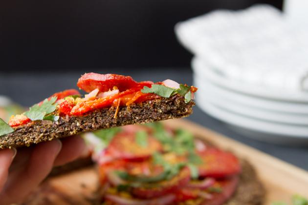 Flaxseed keto pizza with salami