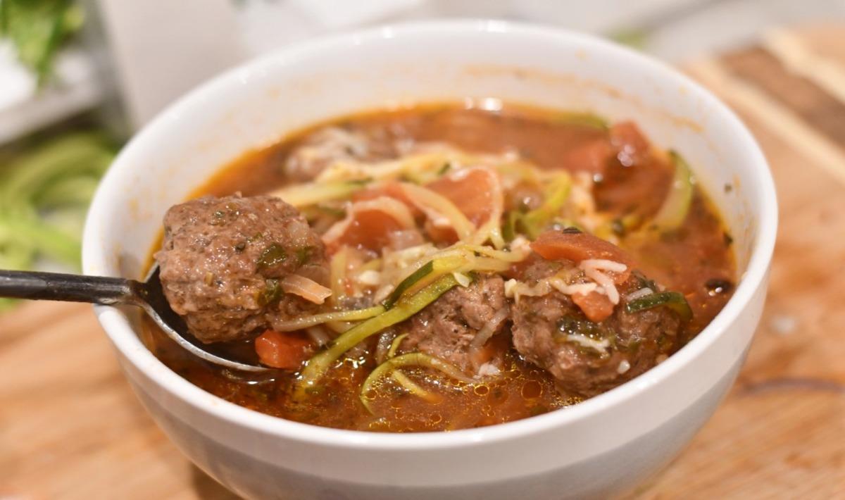 Italian keto soup with meatballs