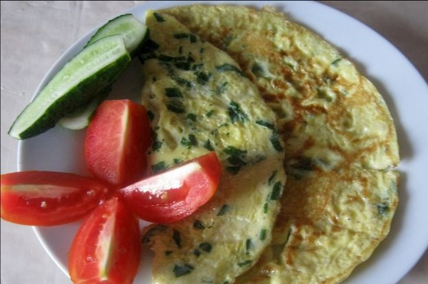 Milk omelet with herbs