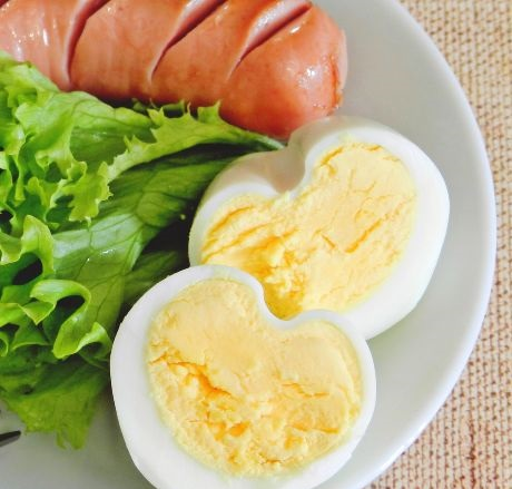 Boiled egg in the shape of a heart