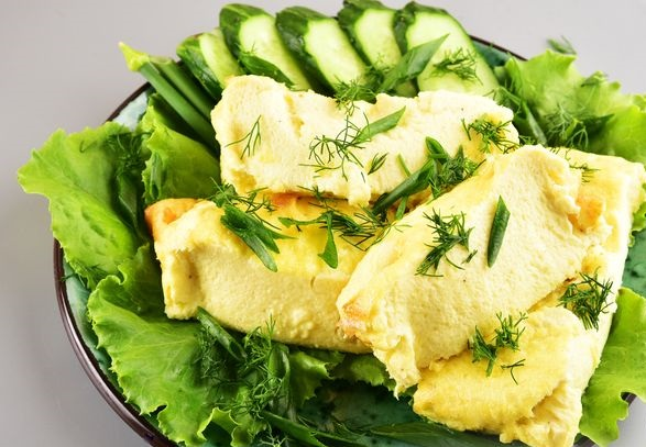 Omelet with cottage cheese (in the oven)