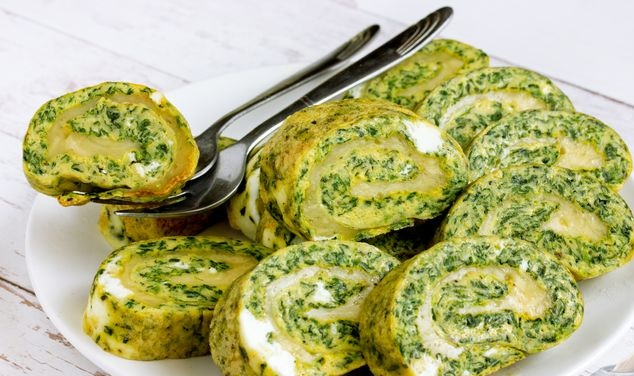 Egg roll with spinach and cheese (in the oven)