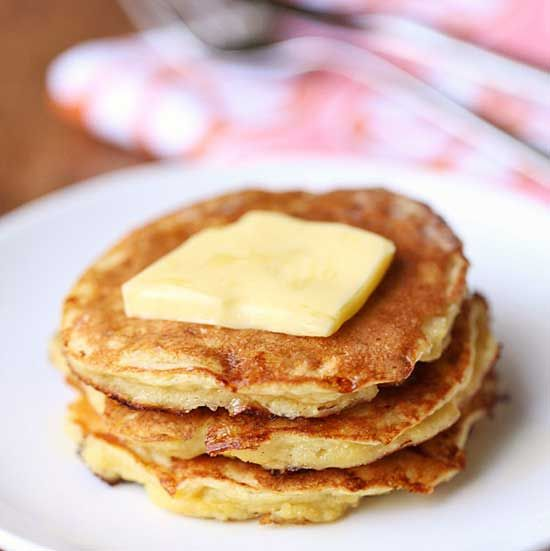 Keto pancakes made from curd cheese and coconut flour