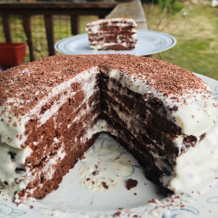 Cake without oven: chocolate sour cream. Keto version