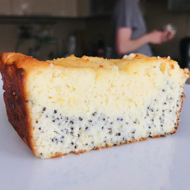Curd cake with poppy seeds and lemon. Keto version