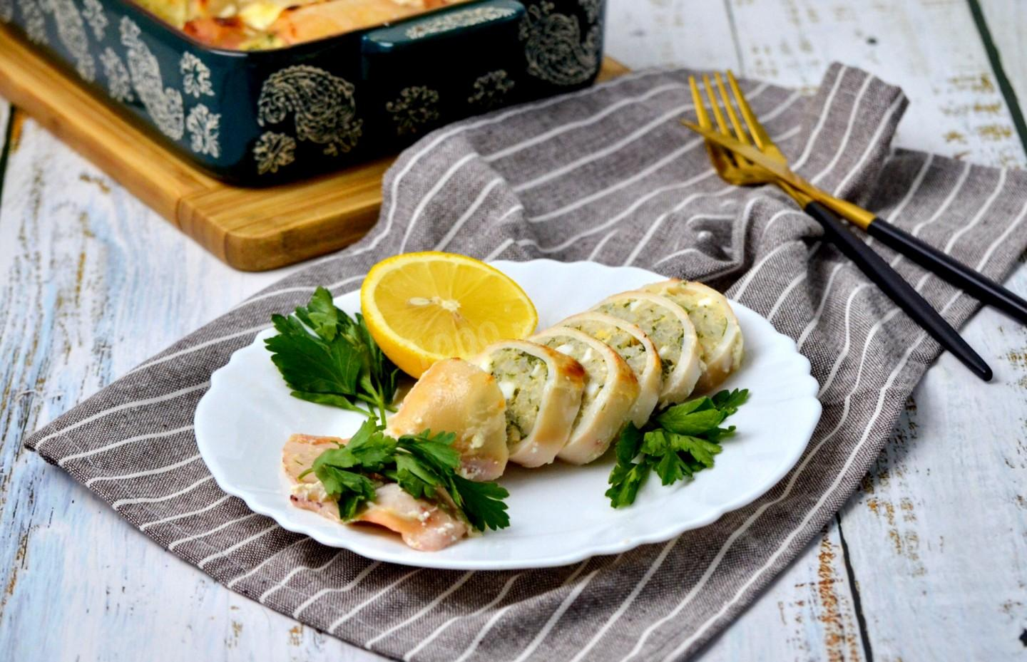 SQUID STUFFED WITH RICE IN THE OVEN