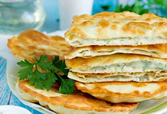 Fried pies with potatoes and dill