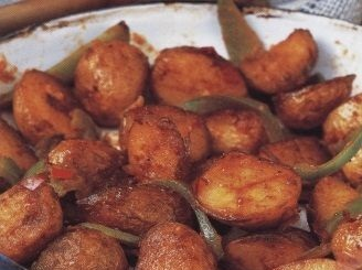 Young potatoes cooked in Spanish style