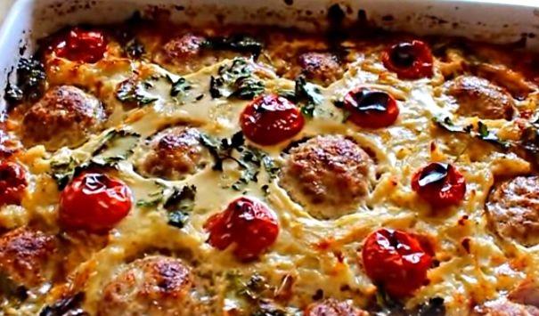 Potato casserole with meatballs