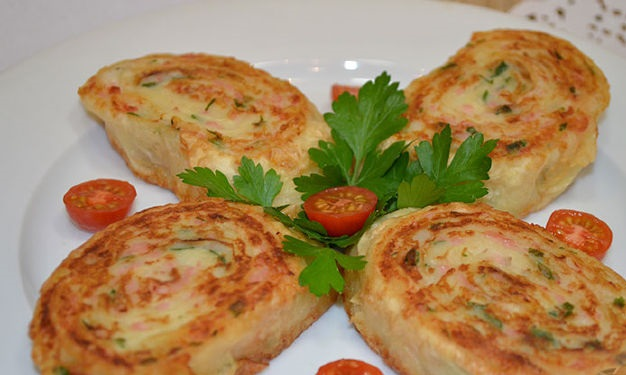 Lavash rolls with potatoes and sausage