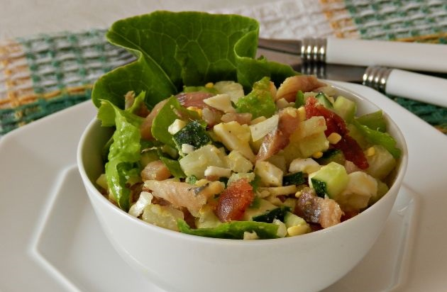 Potato salad with smoked fish