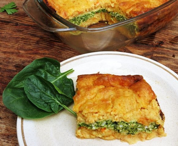 Potato and carrot casserole with minced chicken and spinach