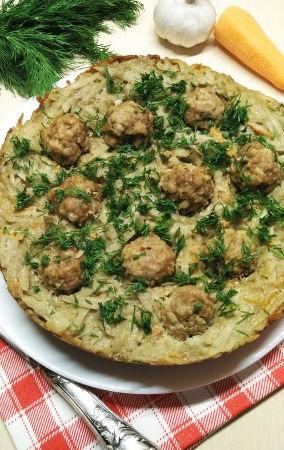 Potato casserole with meat balls