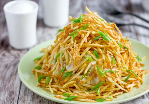 Best Anthill salad with chicken and potato strips