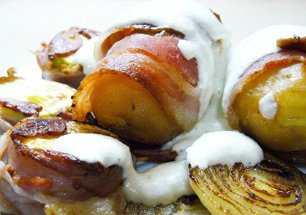 Potatoes in bacon