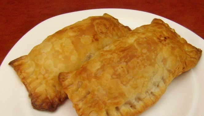 Puff pastry pies with potatoes and beans