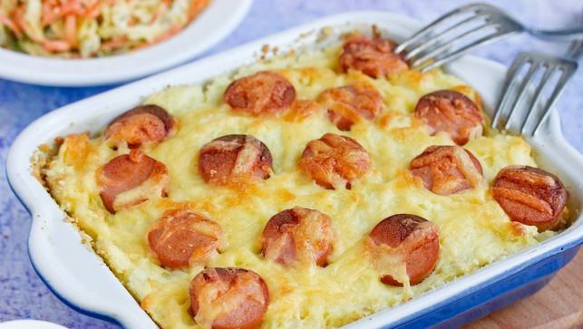 Potato casserole with sausages and cheese