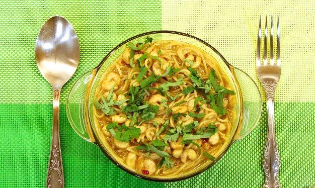 Japanese-style shrimp pasta