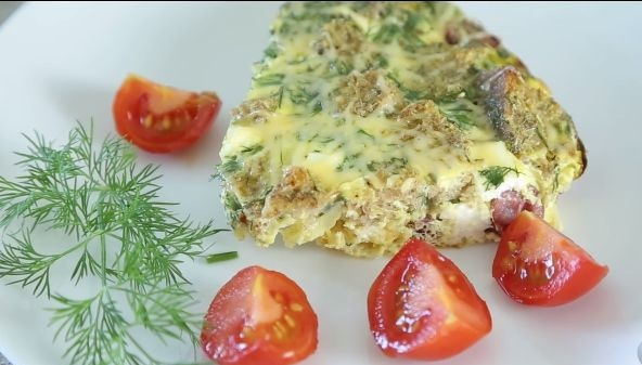 Italian frittata with smoked sausages