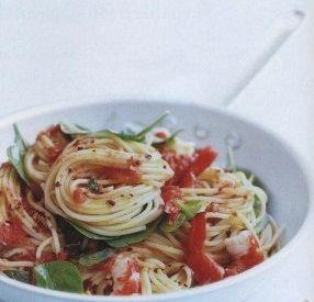 Tasty Spaghetti with shrimps
