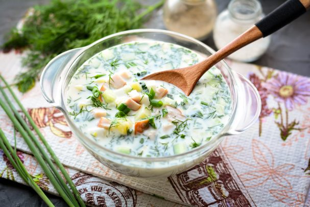 Okroshka with kefir and mineral water with chicken