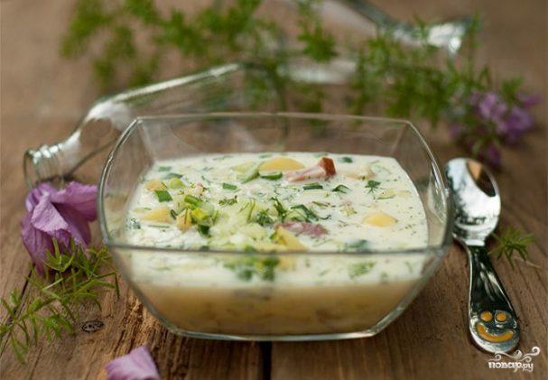 Okroshka with sour cream