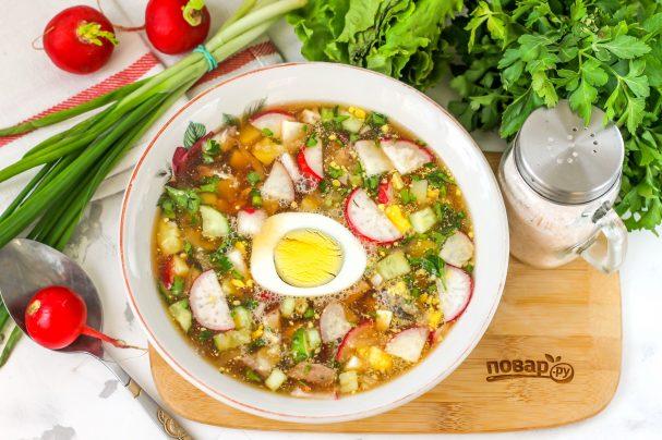 Okroshka with sauerkraut