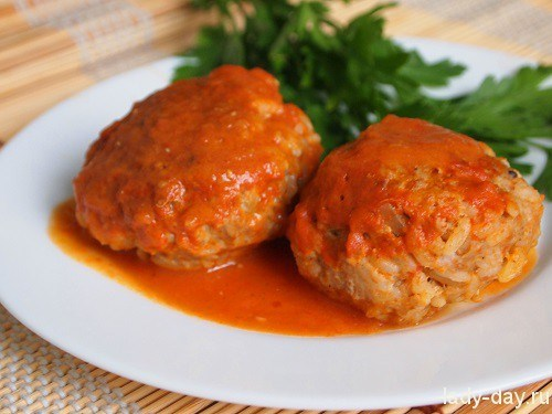 Meatballs with rice in vegetable sauce