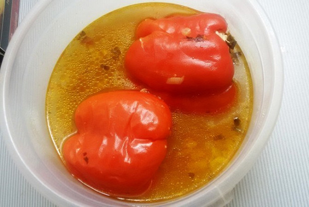 Small peppers stuffed with turkey and rice