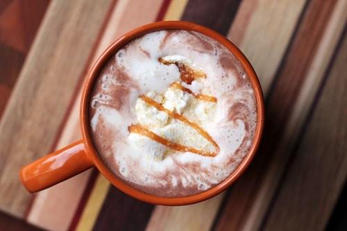 Hot chocolate with caramel and sea salt