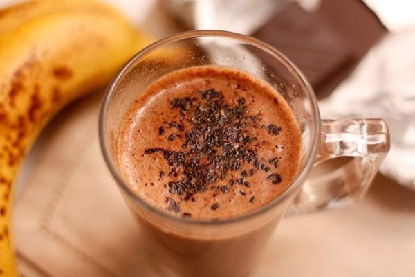 Hot banana cocktail with chocolate