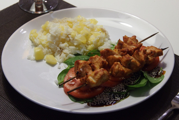 Balinese chicken sauté with rice and pineapple