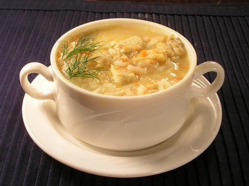 Chicken soup with rice and dill