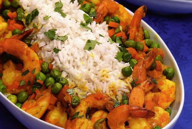 Coconut rice and shrimp curry