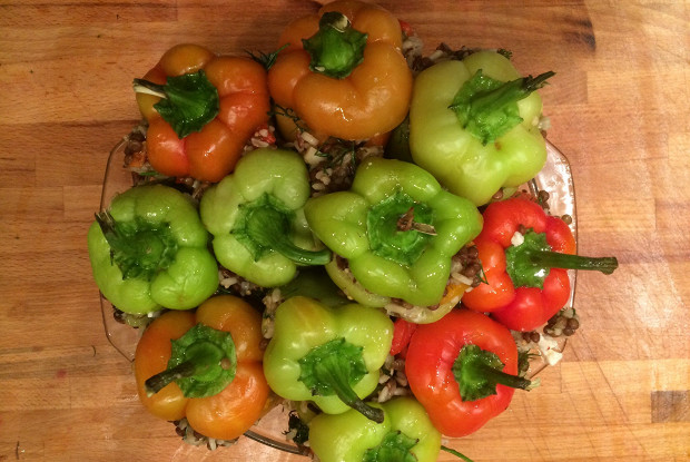Pepper stuffed with baked vegetables with rice and lentils