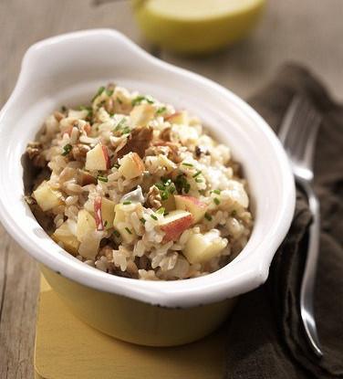 Rice salad with mackerel, porcini mushrooms and apples