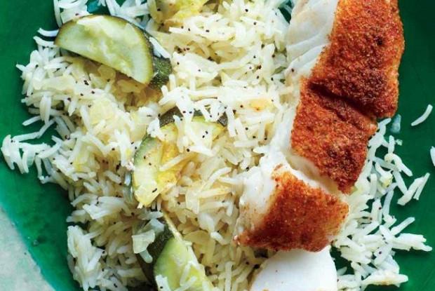 Juicy fish with rice on wine