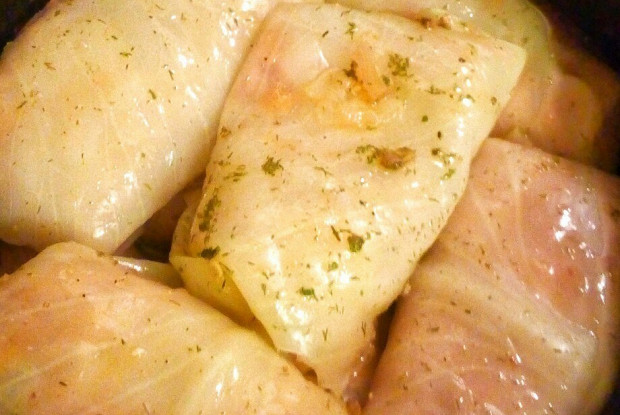Cabbage rolls in a slow cooker with minced meat and rice