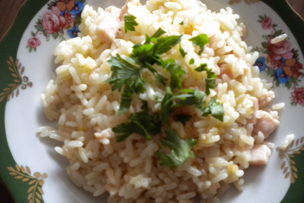 Rice with mushrooms and ham