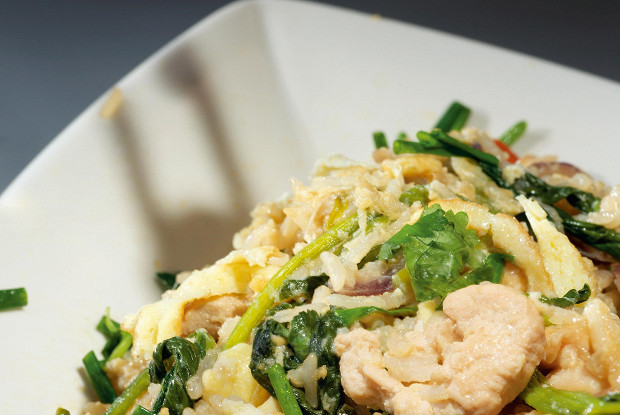 Chicken with sweet rice and spinach