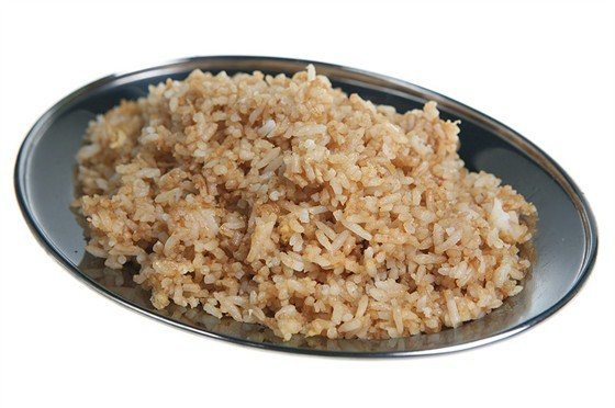 Rice fried with egg and green onions