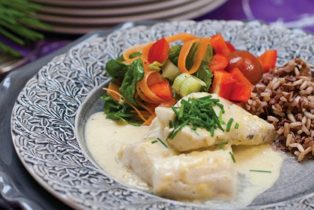 Cod fillet in mustard sauce with rice