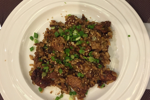 Garlic rice with soy sauce