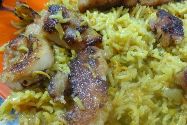 Curry rice in coconut milk with anirian chicken