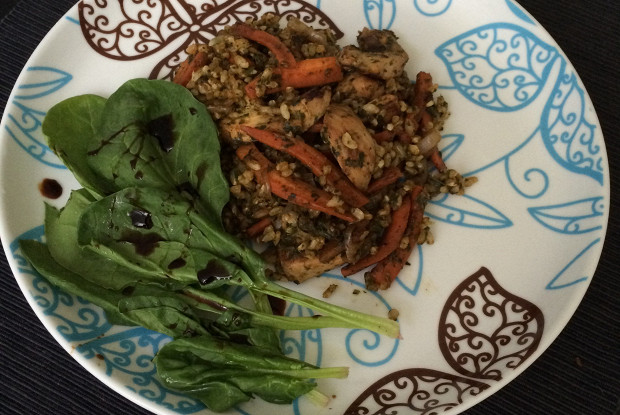 Whole-grain rice and spinach pilaf