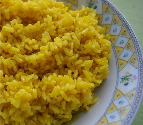 Fragrant rice in a frying pan