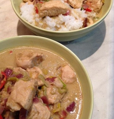 Rice and curry with chicken and coconut milk