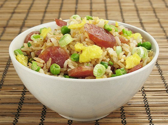 Fried rice with Chinese sausages and shrimps
